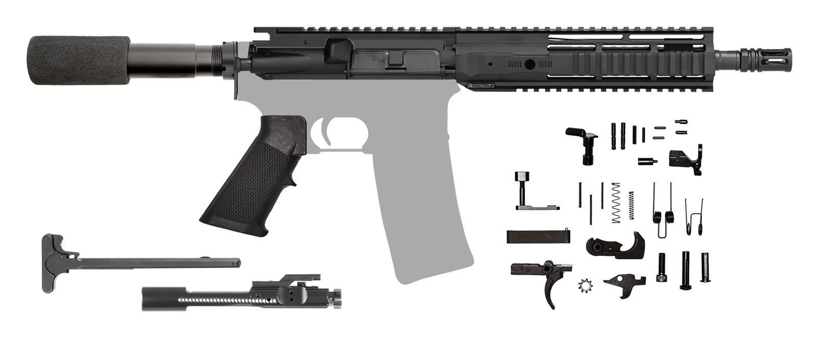 "AR-15 AR Pistol Kit 10.5"" .223 / 5.56 NATO IRS Rail"