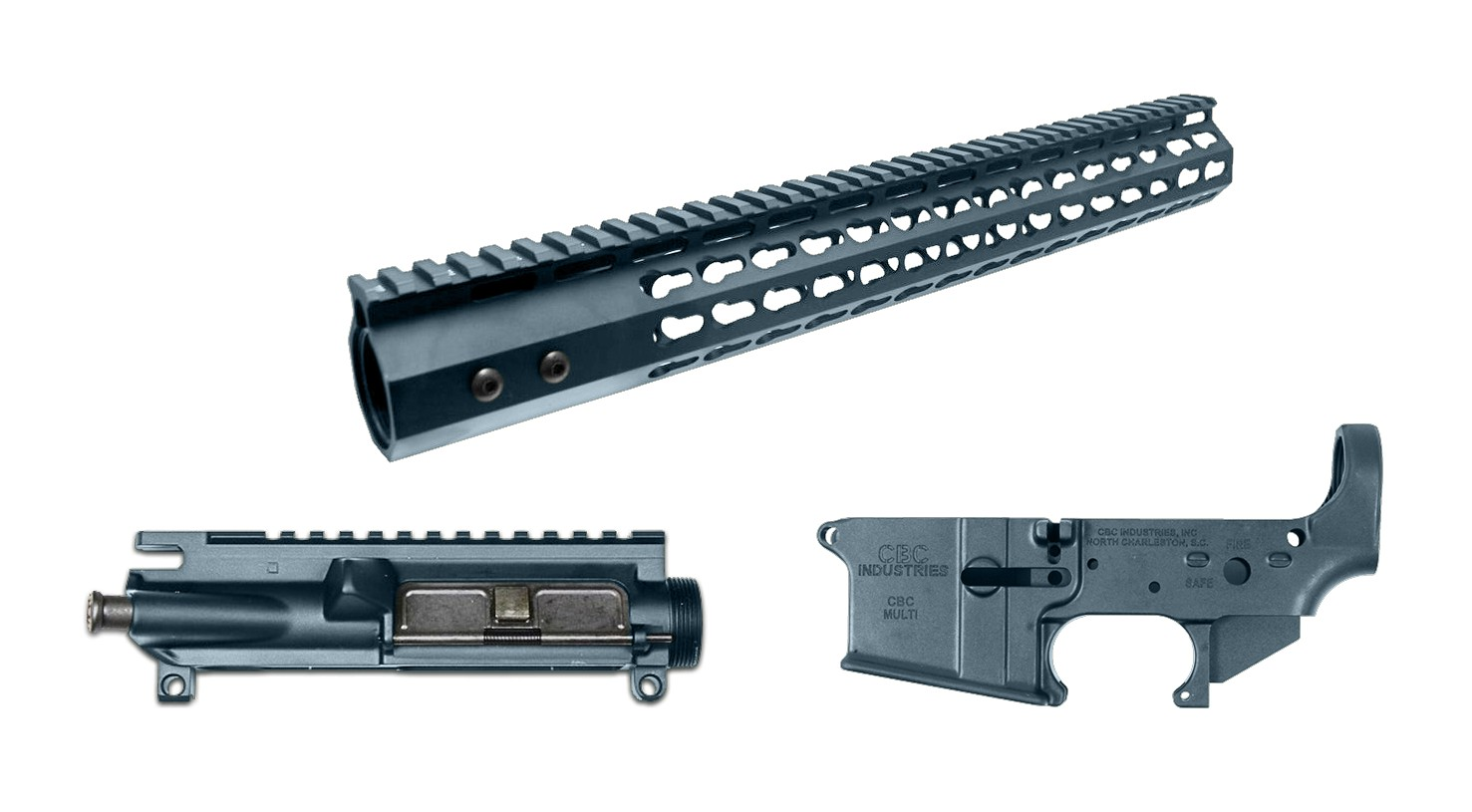 AR-15 Cerakote 3 Piece Set - Blue Titanium Lower Receiver, Upper Receiver,  & Handguard / Rail