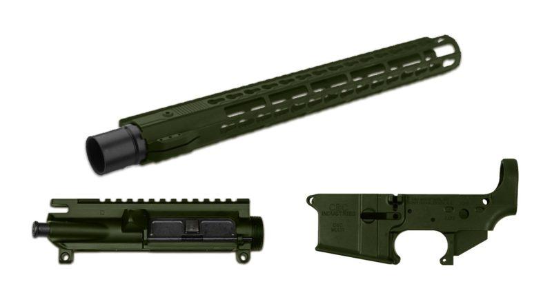 ar 15 cerakote 3 piece set od green lower receiver upper receiver handguard rail 2