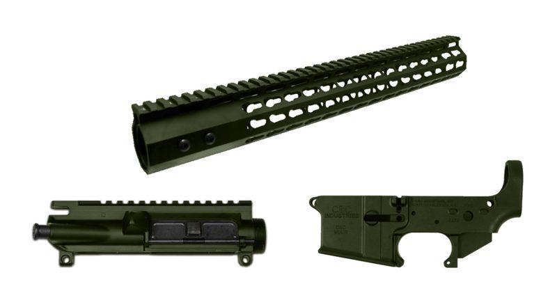 ar 15 cerakote 3 piece set od green lower receiver upper receiver handguard rail