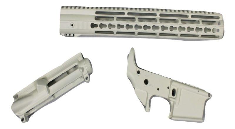 ar 15 cerakote 3 piece set snow white lower receiver upper receiver handguard rail