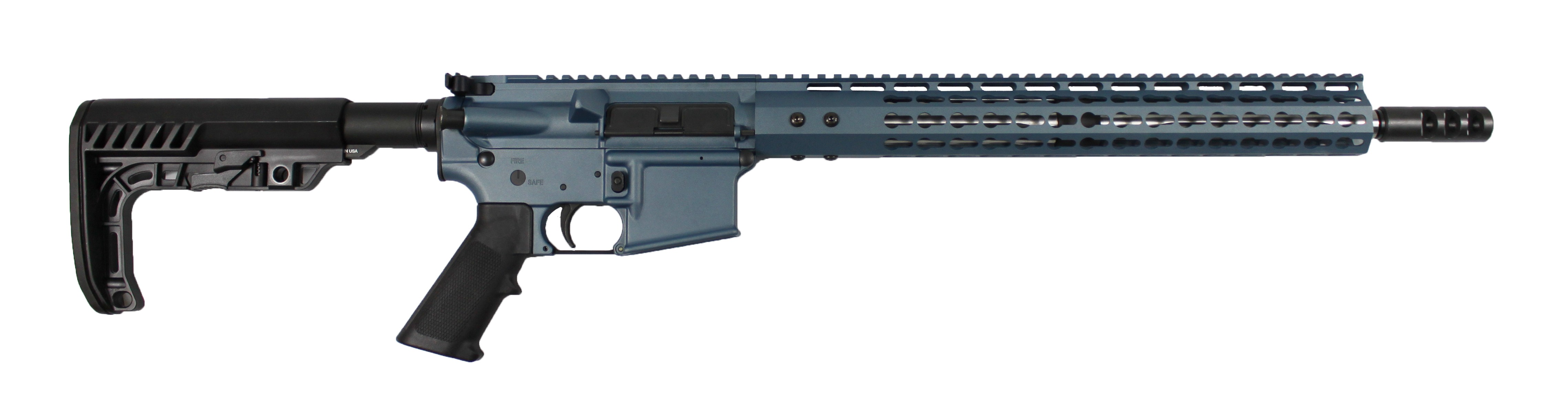 ar 15 complete rifle cbc industries limited edition blue titanium rifle 223 5 56 stainless steel straight flute mb05 2 flash hider minimalist buttstock