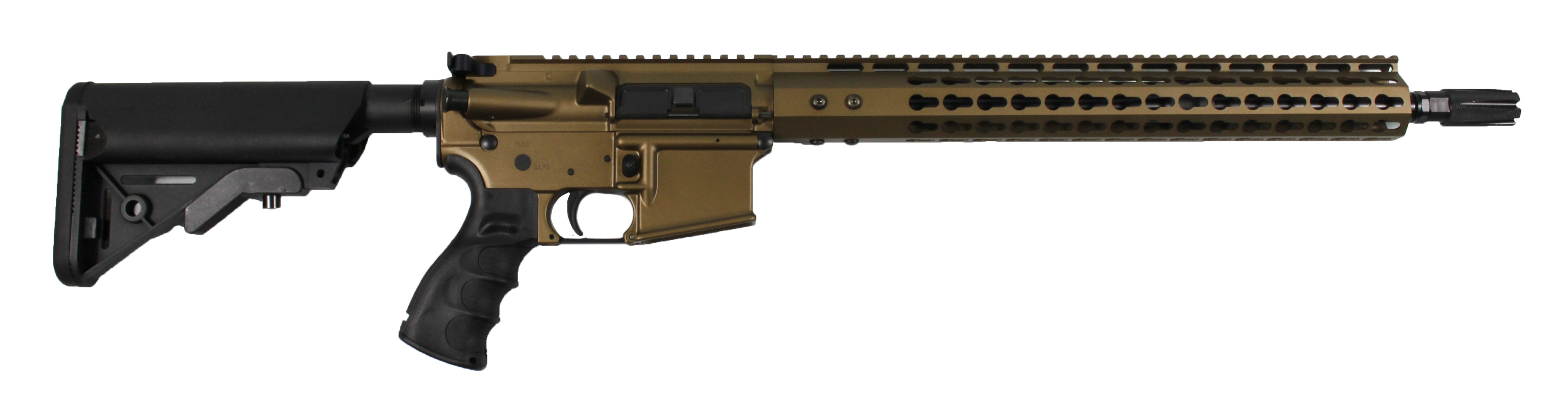 ar 15 complete rifle cbc industries limited edition burnt bronze rifle 223 5 56 cbc compensator sopmod buttstock
