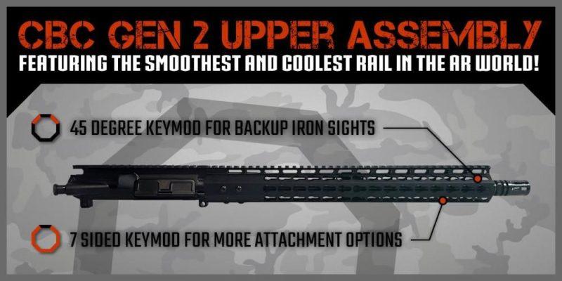 ar 15 upper assembly 16 5 56 x 45 1 9 15 cbc arms keymod gen 2 ar 15 handguard rail