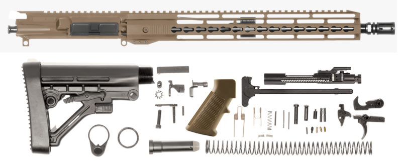 sportsman-guide-16″-5-56-nato-18-15″-unmarked-keymod-bolt-carrier-group-charging-handle-ar-15-buttstock-kit-ar-15-lower-parts-kit-coyote-brown