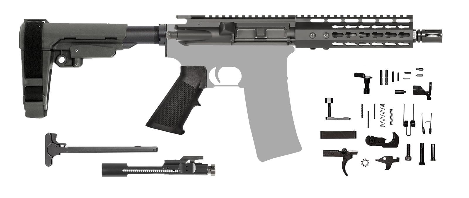 AR-15 AR Pistol Kit – 7.5 Inch / 300 AAC Blackout / Keymod / SBA3