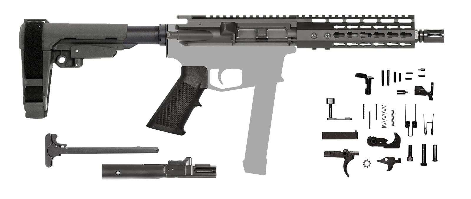 AR-15 AR Pistol Kit – 7.5 Inch / 9mm / Keymod / SBA3
