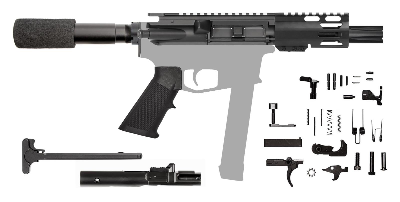 """AR-9 4"""" 9mm AR Rifle Kit with 4"""" M-LOK Hanguard Rail"""
