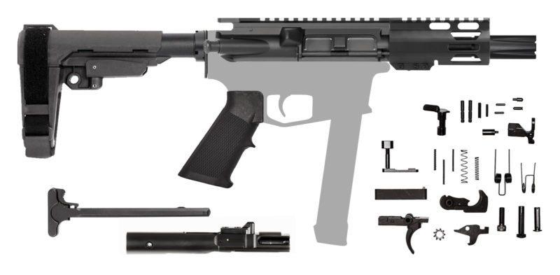 "9mm AR Rifle Kit with 4"" M-LOK Hanguard Rail SBA3 Brace"