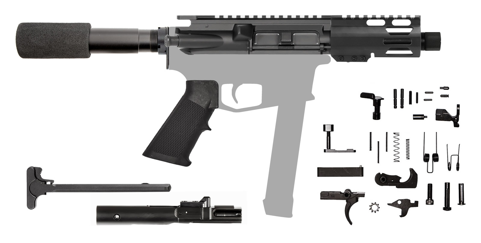 "AR-9 5.5"" 9mm AR Rifle Kit with 4"" M-LOK Hanguard Rail"
