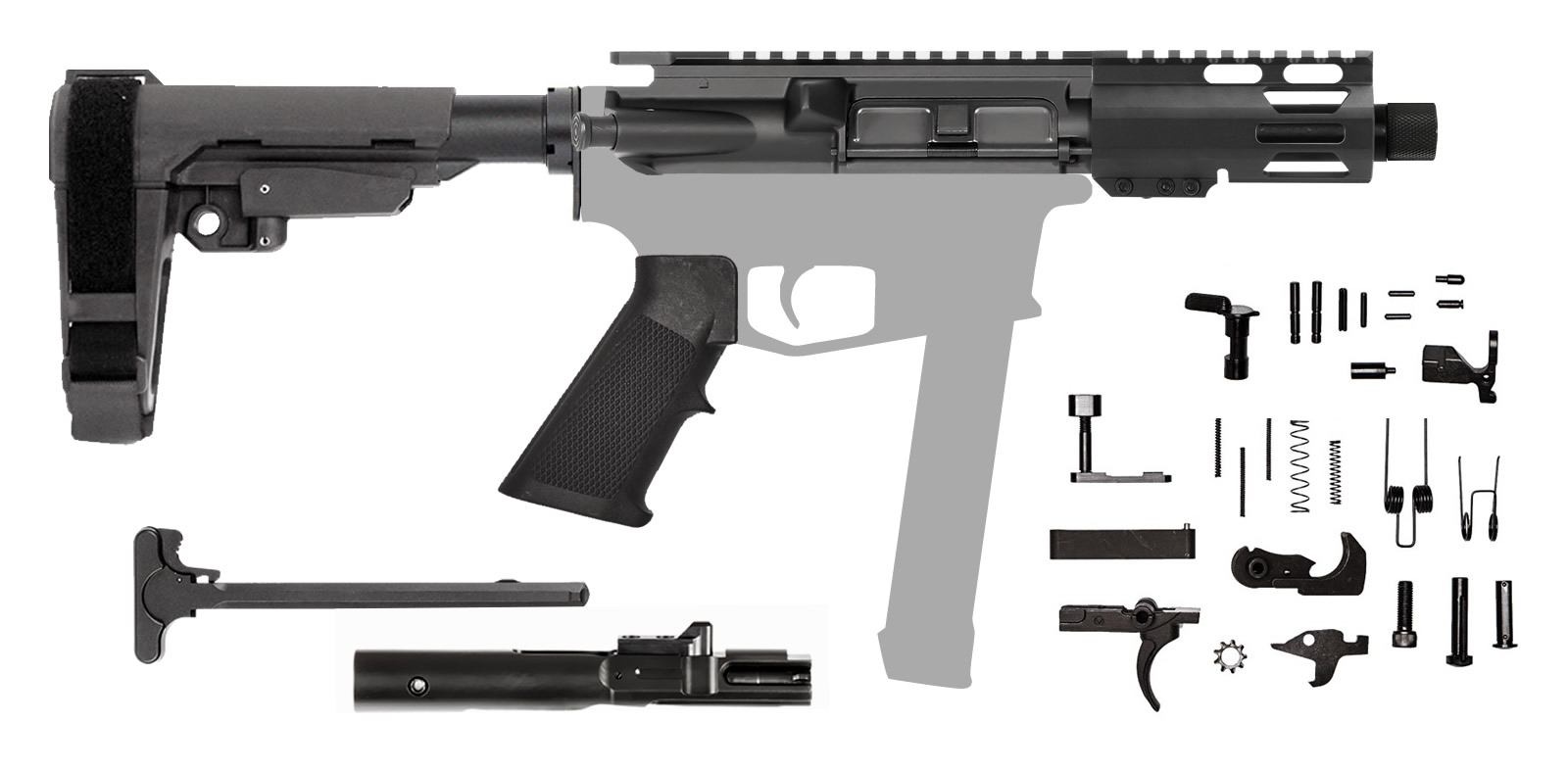 "AR-9 5.5"" 9mm AR Rifle Kit with 4"" M-LOK Hanguard Rail SBA3 Brace"